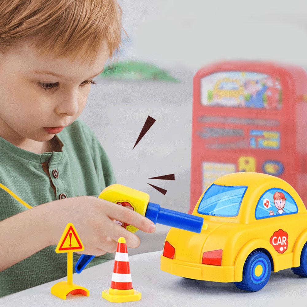 Modelo de simulación de juguetes de simulación de la escena de la gasolinera niños con coches de luz de sonido juguetes educativos de juego doméstico para regalos de chico