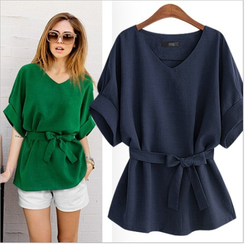 Plus Size Casual Blouses Summer Lady O-Neck Bat Short Sleeve office Shirts 2020 Elegant Solid Loose Female Bow Bandage Women Top