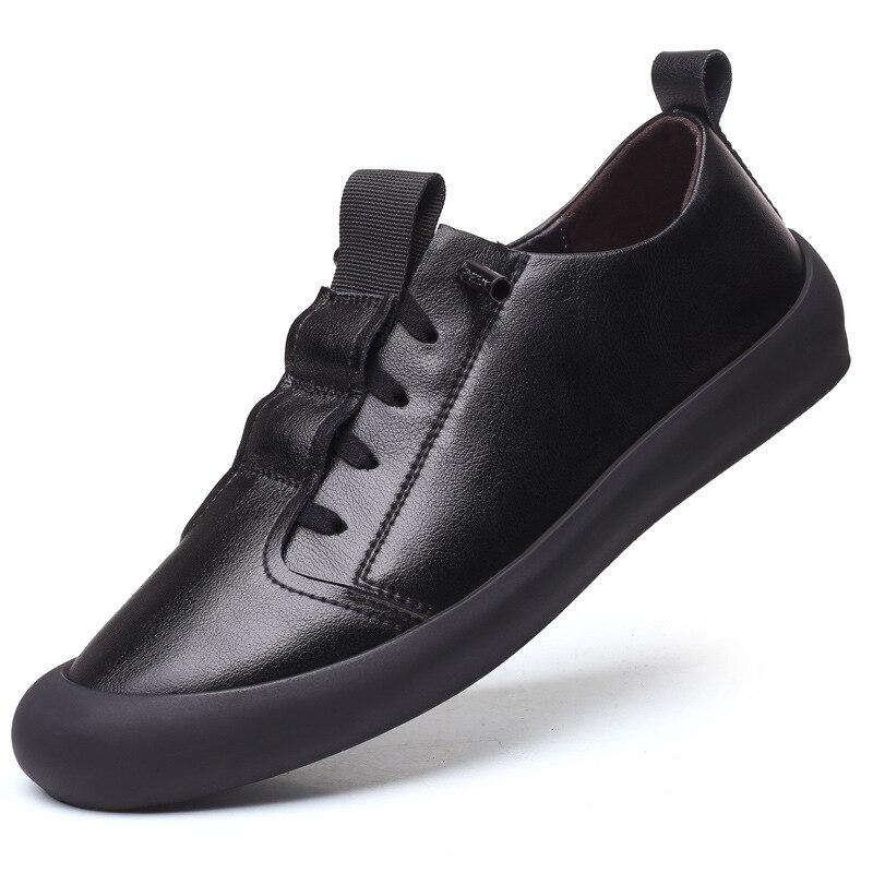 100% zapatos de cuero genuino para hombre, zapatillas de cuero de vaca, zapatos casuales para hombre, zapatos blancos y negros geniales para hombre, calzado para hombre KA2217