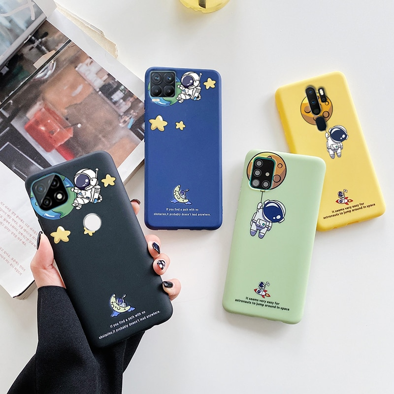 ins Silicone Planet Astronaut Phone Case For Oppo Realme 8 5 6 7 Pro Xt C21 5i C3 Narzo 10 10A 20A 6