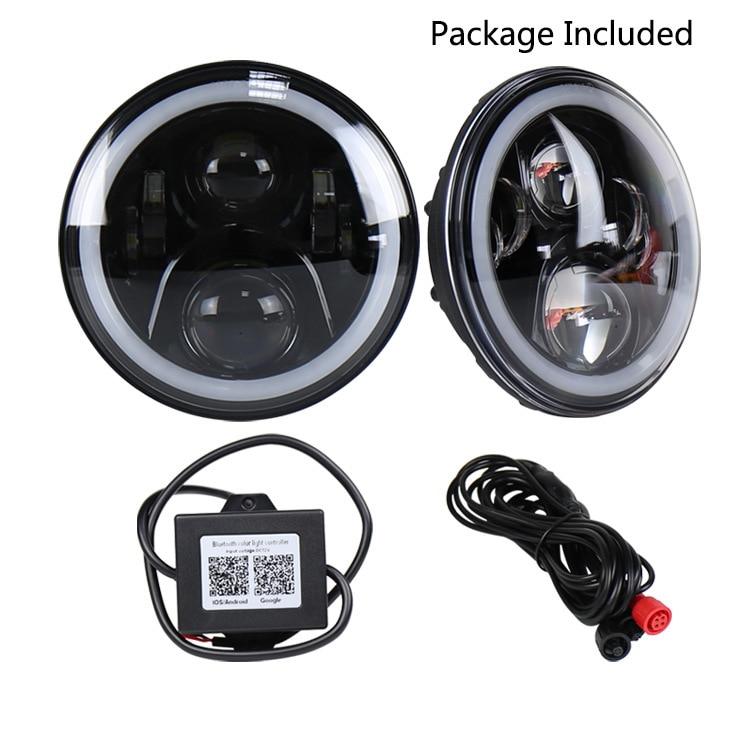 "7 ""jeep wrangler RGB headlight bluetooth control modified lights cross-border hot style LED car light"