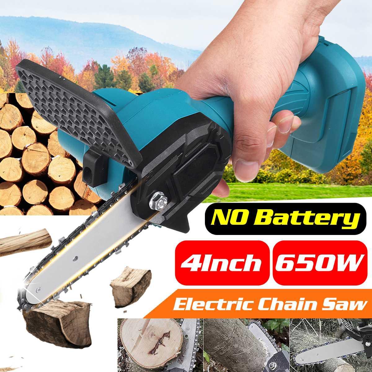 4 polegada 650w serra de corrente elétrica mini poda de uma mão jardim carpintaria ferramenta elétrica compatível makita 18v bateria (ferramenta apenas)