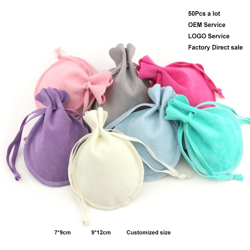 Мешочки бархатные подарочные на шнурке, для упаковки свадебных украшений разных размеров, с браслетом конфетного цвета, можно напечатать л...