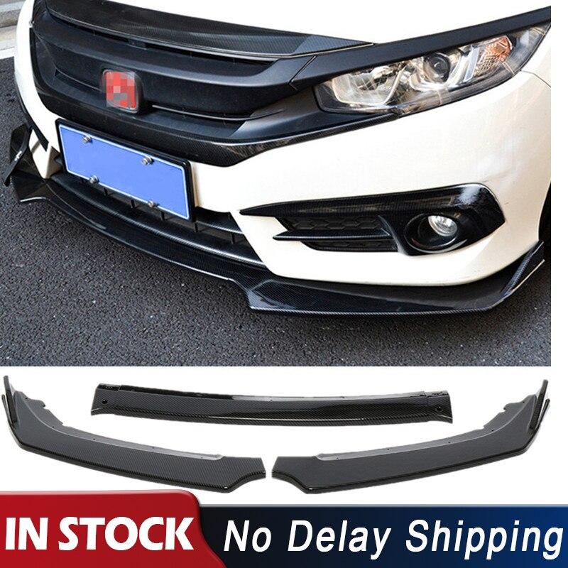 3 unids/set negro difusor de parachoques delantero de coche labio cuerpo Kit de protectores Spoiler parachoques para Honda Civic Sedan 4Dr 2016 2017 2018