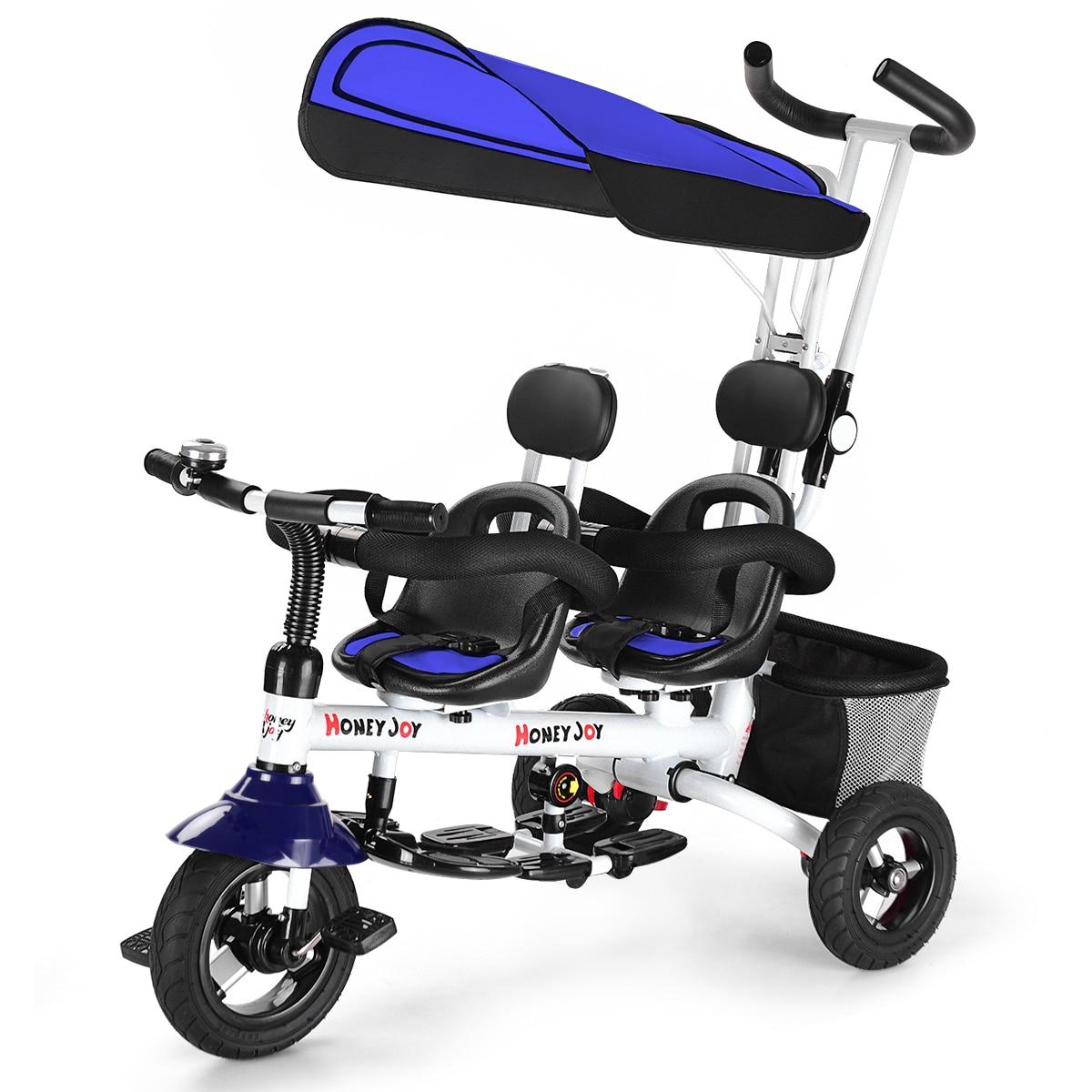 عربة أطفال ثلاثية العجلات قابلة للفصل ، لعبة أطفال مزدوجة 4 في 1 ، قابلة للفصل باللون الأزرق