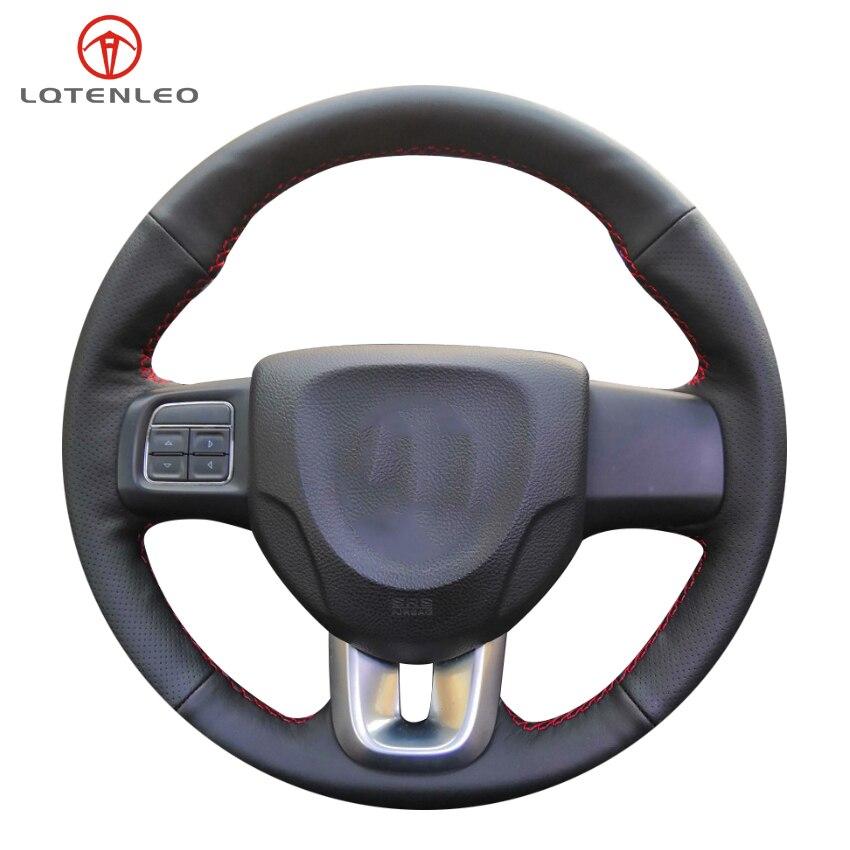 Lqtenleo couro artificial preto mão-costurado volante do carro capa para fiat fiat viaggio 2015-2019 ottimo 2014-2019