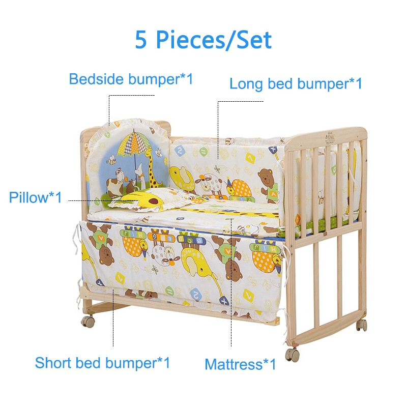 Babyinner 5 Pcs/Set Baby Bed Bumper Comfortable Crib Fence Protection Cartoon Newborn Cot Pillows Bedding Set Baby Room Decor enlarge