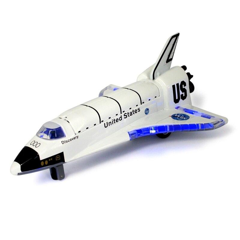 Lanzadera espacial de aleación fundido a presión, espacio artesanal, avión espacial, nave espacial, modelo 19,5 cm de longitud con música ligera para juguetes de niños