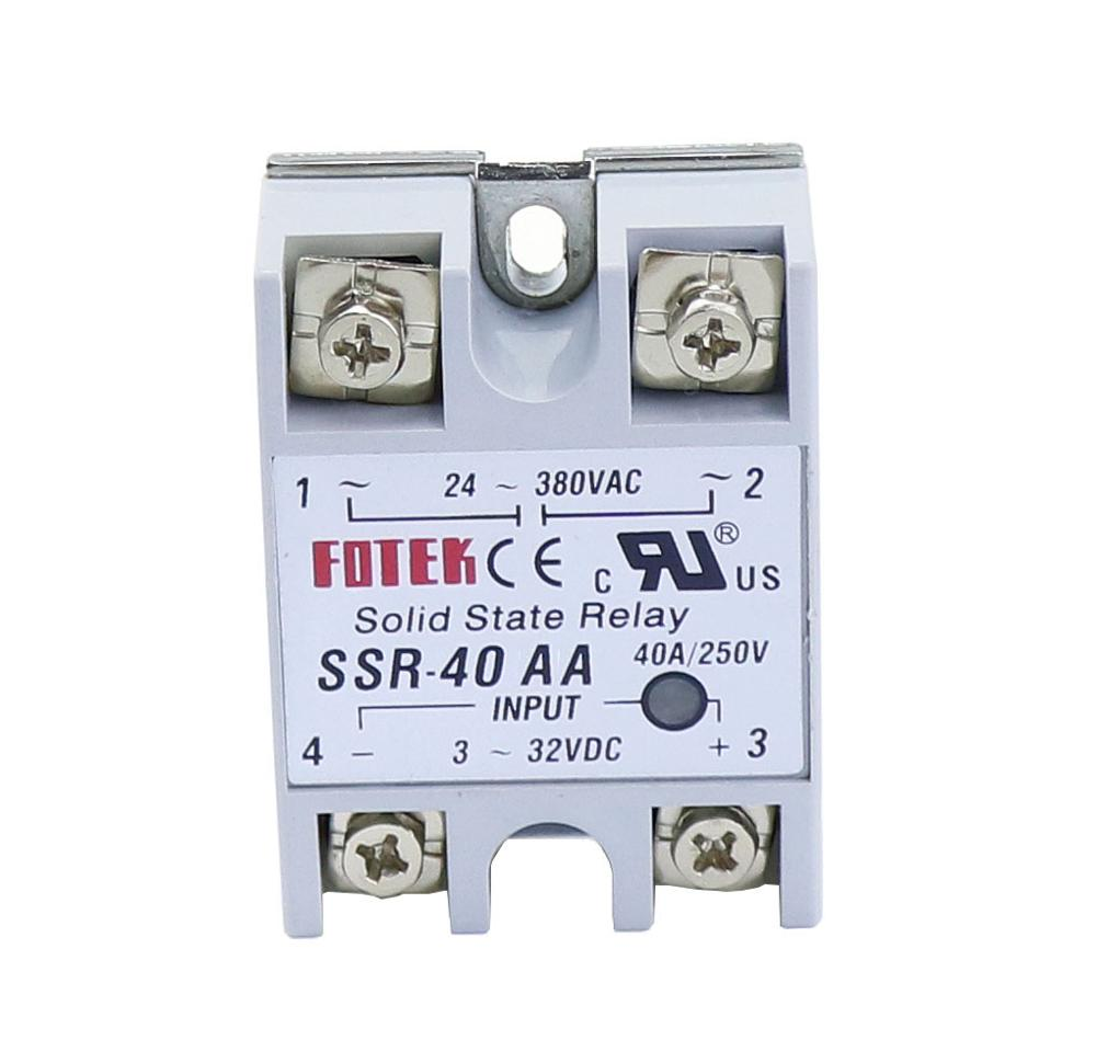 1pcs SSR-40AA 40 AA Solid State Relay Module 80-250V AC Input 24-380VAC 40A