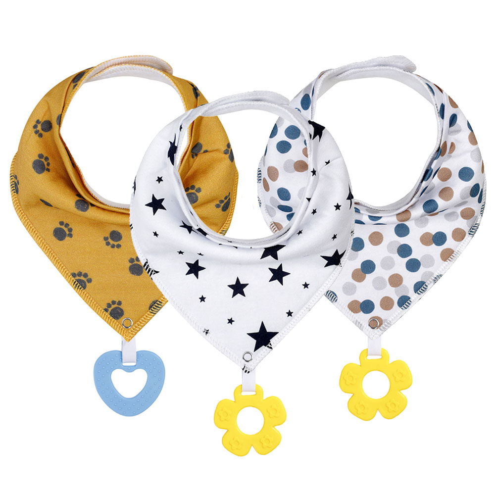 Baby Bibs Baby Bandana Drool Bibs For Teething and Drooling Super Soft Absorbent Cotton Bibs Teething Toys Set Baby Feeding Bibs baby bandana bibs with teething toys 100% organic cotton bibs super absorbent drool bib with teether for boys