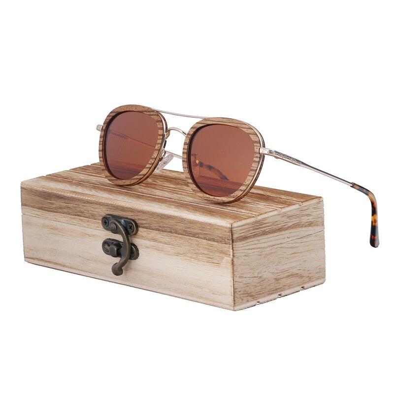 BerWer-نظارات شمسية خشبية مستقطبة زيبرا ، نظارات شمسية عتيقة من خشب البامبو مع حماية من الأشعة فوق البنفسجية ، في صندوق هدايا