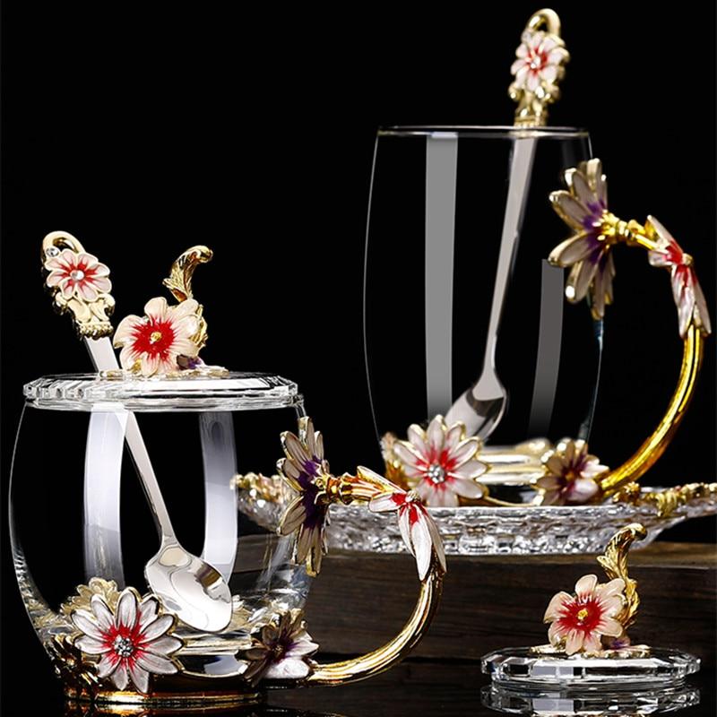 المنزلية المينا كوب ماء زهرة أقحوان فنجان شاي المينا الزجاج كأس الإبداعية هدية كأس الزجاج المقاوم للحرارة