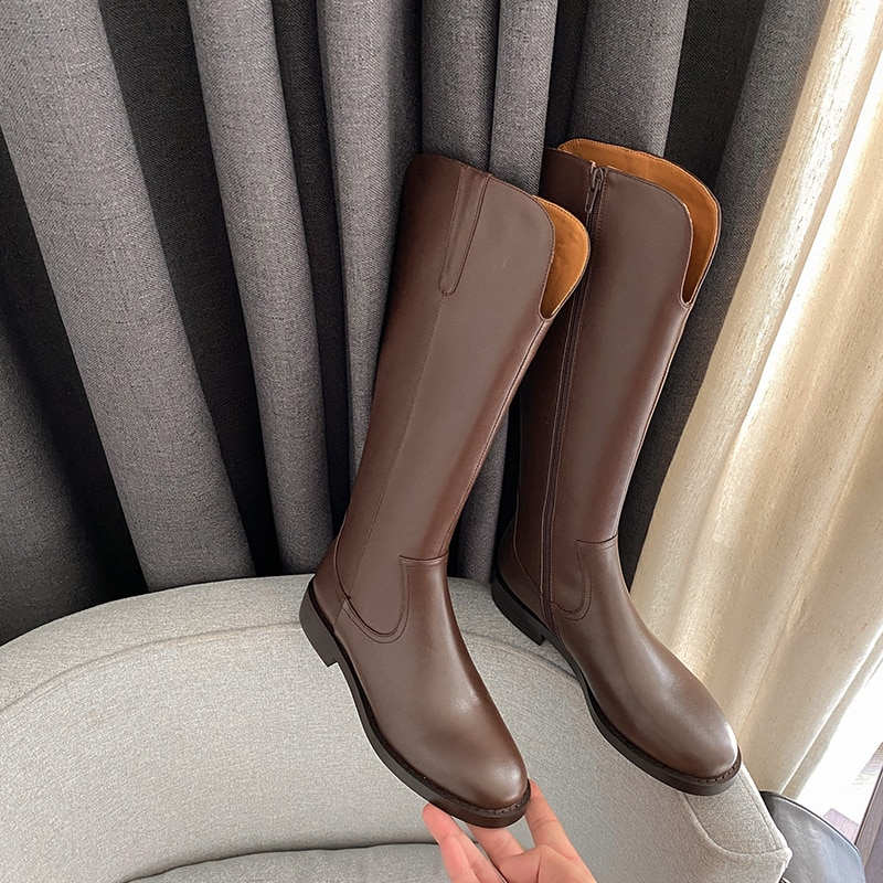 Size 34-43 Women Knee Boots Real Leather Platform Winter Shoes For Woman Warm Fur Long Boots Office