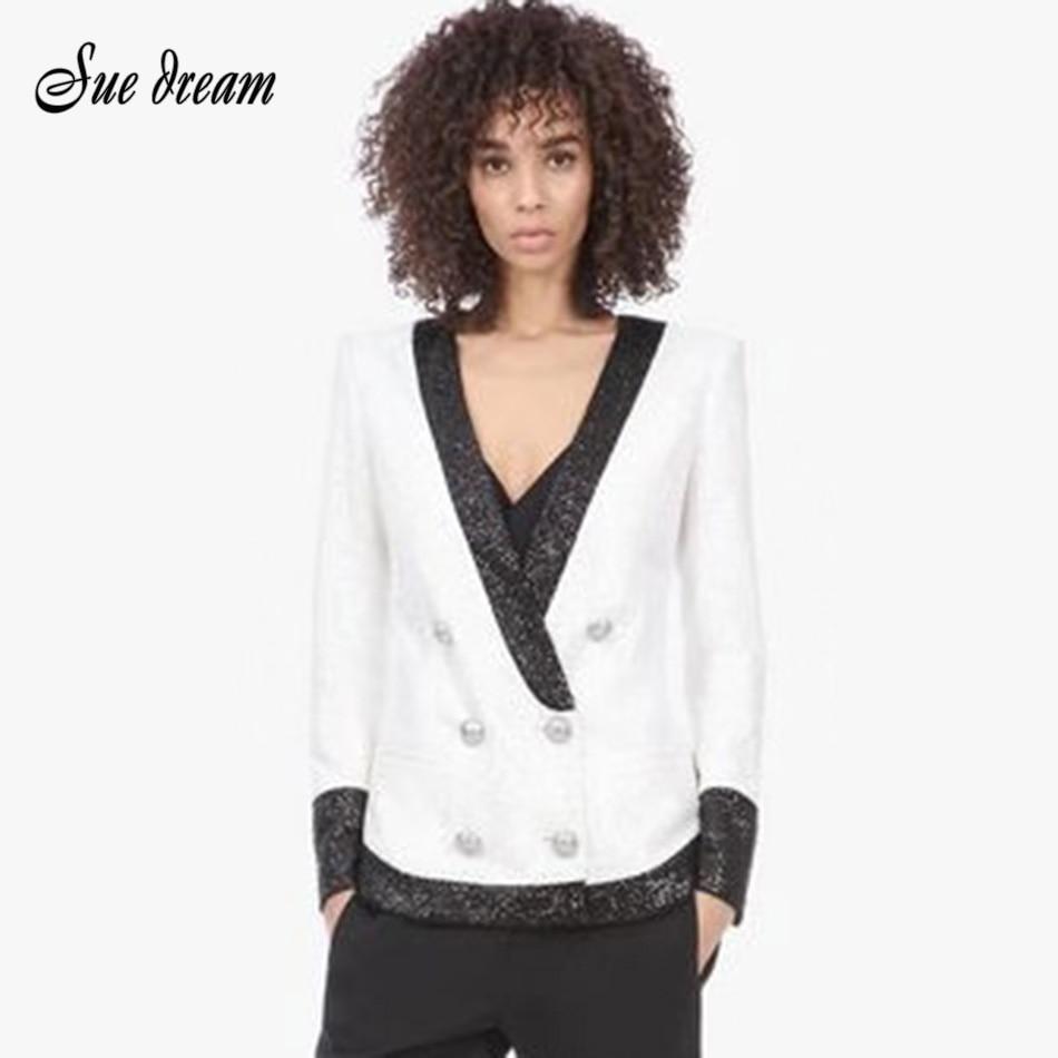 Chaqueta con cuello en V manga larga con lentejuelas nueva moda Blanca Negra chaqueta con cuello en V Mujer verano Chic Bodycon de botones Casual para fiesta abrigo 2020