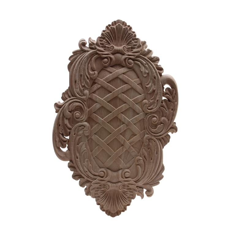 Calcomanía para madera apliques de madera molduras de madera talladas decoración moderna Retro largo Grande Oval madera casa para muebles y ventanas esquina