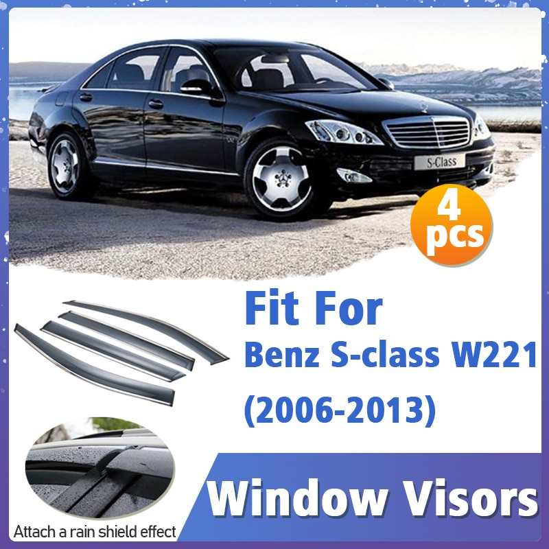 Window Visors Guard for Benz S class W221 W222 2006-2022 Cover Trim Awnings Shelters Protection Guard Deflector Rain Rhield 4pcs