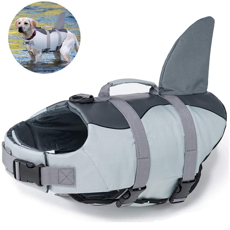 Dog Life Jacket Ripstop Dog Lifesaver Shark Vests with Rescue Handle Pet Dog Safety Swimsuit For Swimming Pool Beach Boating
