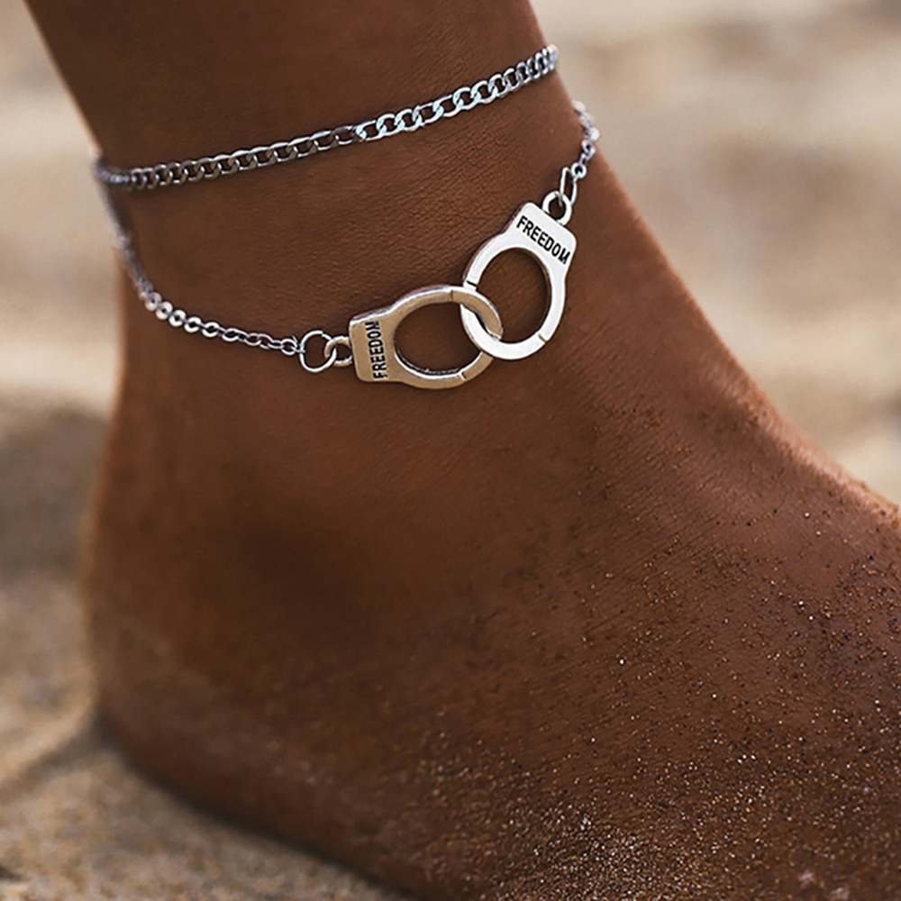 SUMENG 2021 New Fashion Boho Style Star Anklet Multilayer Foot Chain Handcuffs Ankle Bracelet For Women Beach Accessorie