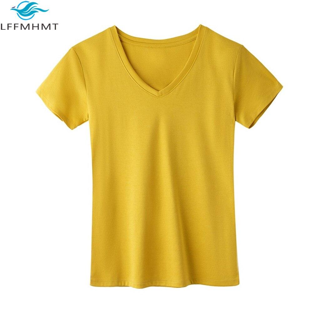 Mujer verano moda Color sólido manga corta cuello pico algodón camisetas Oficina señora Casual Slim Fit Thin Tee femenina Simple salvaje Top