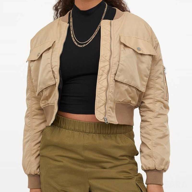 Осенние женские короткие бейсбольные куртки, куртка-бомбер, свободная короткая винтажная куртка на молнии, куртка-бомбер Za, парки