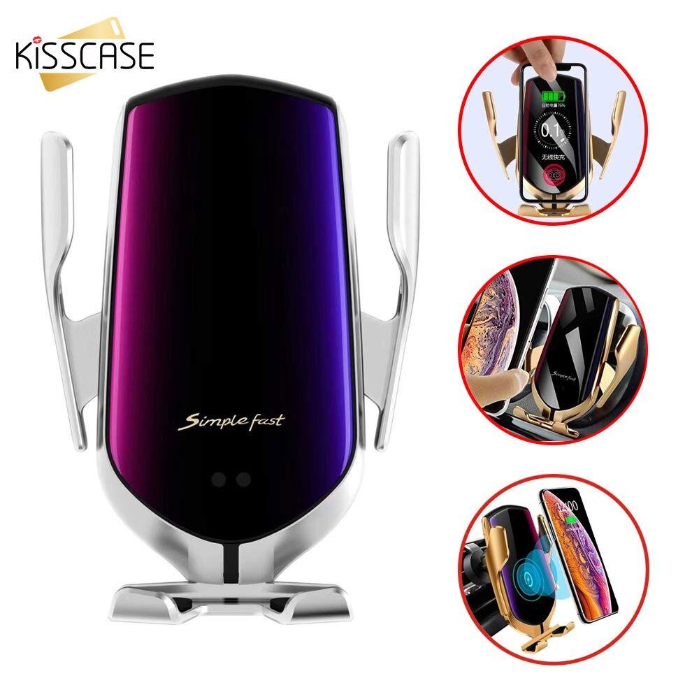 Kisscase автоматический зажим Быстрая зарядка автомобильный держатель телефона для iPhone 11 7 для Samsung мобильный телефон 10W беспроводное автомобильное зарядное устройство
