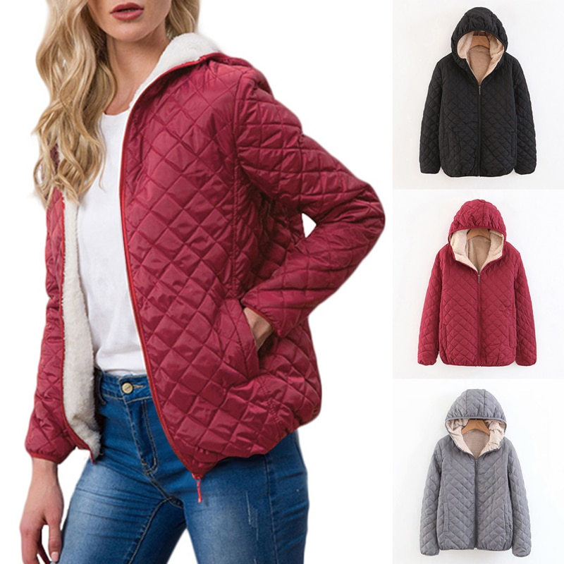 Link Thick Winter Jacket Women 2020 Casual Hooded Parkas Mujer Outerwear Autumn Slim Cotton Zipper S