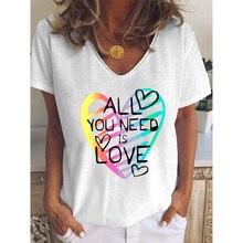 Élégant Manches Courtes T-Shirt Femmes 2021 Dété Décontracté Col V Femmes Vêtements Harajuku Blanc Amour Lettre Impression T-Shirt Femme