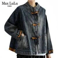 max lulu korean spring designer clothing female vintage denim jackets women bleached loose coat ladies punk oversized streetwear