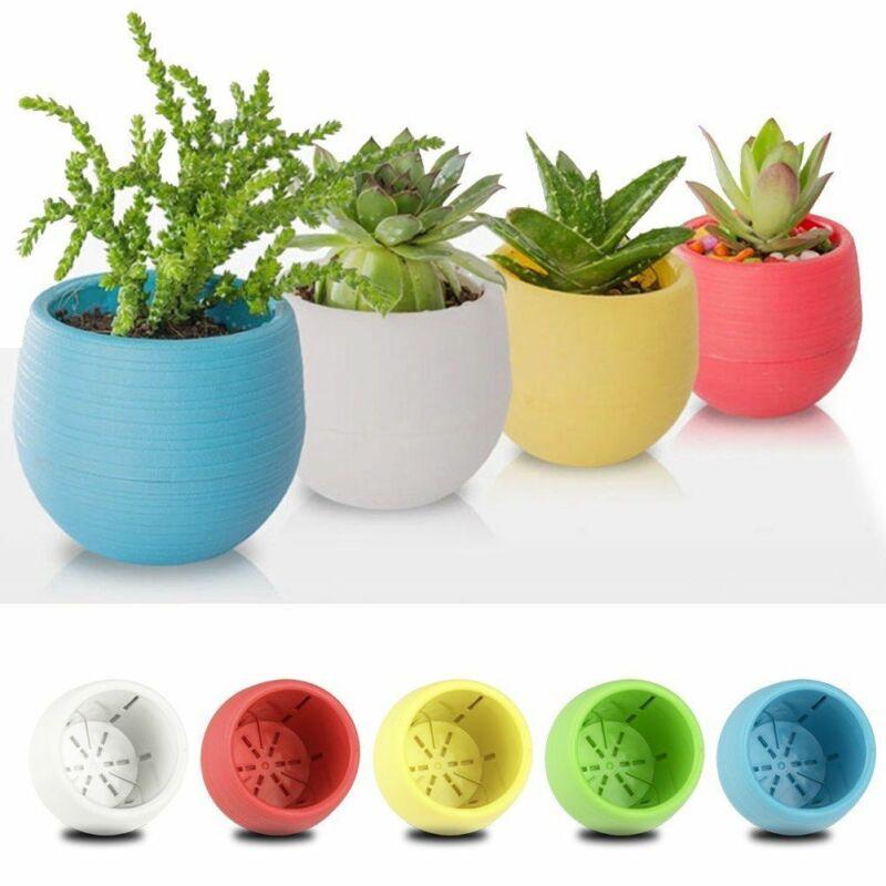 Creativo respetuoso del medio ambiente colorido redondo Mini planta de plástico maceta jardín decoración hogar Oficina plantador