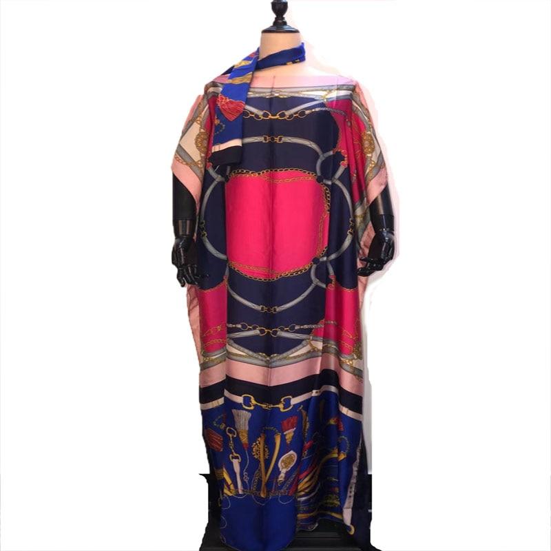 Bonito impresso malásia seda kaftan vestidos longos match scarf grátis tamanho africano feminino vestidos longos para mulher