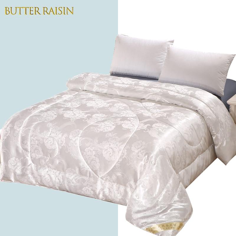 الفاخرة الحرير المعزي الجاكار السرير حاف بطانية المرجحة الشتاء مبطن لحاف التوأم كامل الملكة الملك الحجم المنسوجات المنزلية حاف