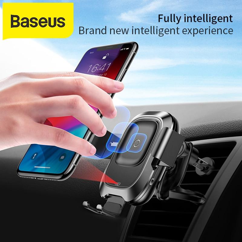 Baseus شاحن لاسلكيشاحن سيارة سيارة لاسلكية Xs ماكس Xr X سامسونج S10 S9 أندرويد الهاتف شاحن سريع لاسلكي شاحن سيارة حامل هاتف
