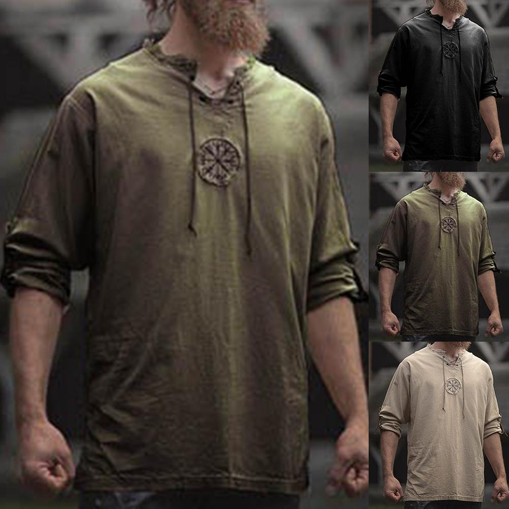 Men Plus Size Shirt Top Ancient Viking Embroidery Lace Up V Neck Long Sleeve Shirt Top For Men's Clothing