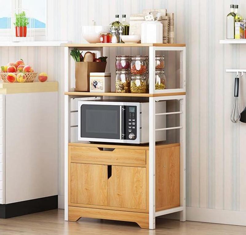 2/3 Layer kitchen Cabinet with Drawer Door for Microwave Oven Kitchenware Storage Organize Cupboard Kitchen Shelf Rack
