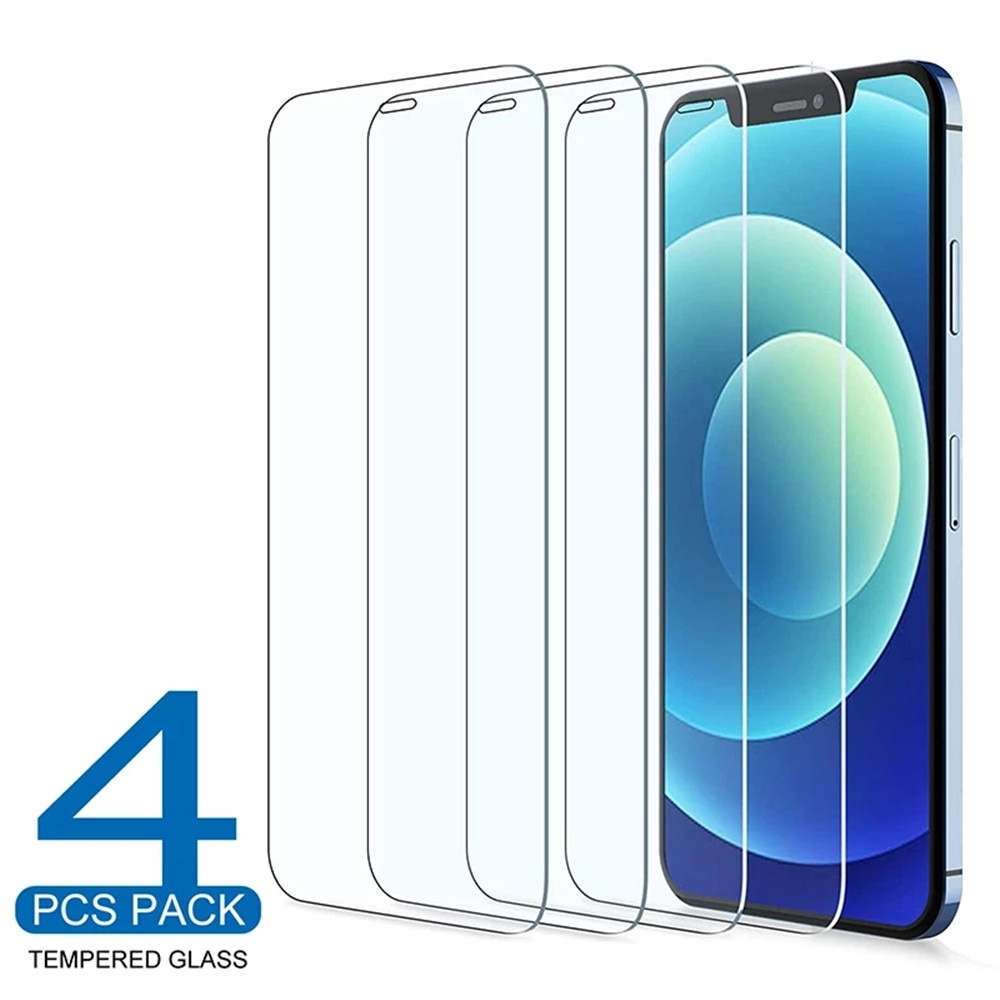 Protecteur d'écran pour iPhone, 4 pièces, couverture complète en verre trempé pour modèles 6 6S 7 8 11 12 Pro XS Max X XR SE2
