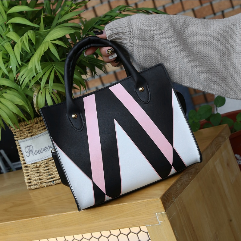 2021 New Style Europe and America Cool Geometric Pattern Contrast Color PU Hand Women's Shoulder Bag