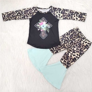Fall/Winter Leopard Cross Outfits Baby Girls Long Sleeves Shirt Bell Bottom Pants Kids Sets Children Clothes Boutique Wholesale