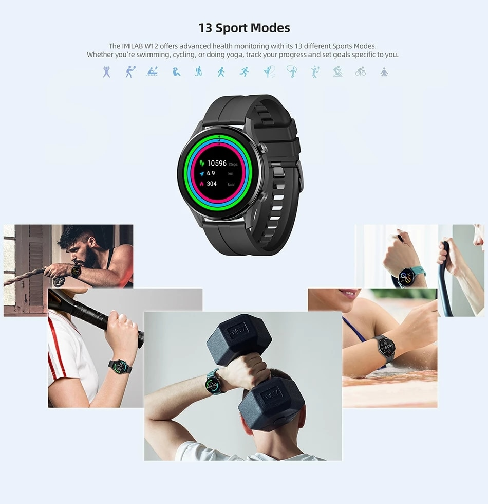 IMILAB W12 Smart Watch Fitness Tracker Heart Rate Monitor Screen Sleep Monitor For Android Honor Huawei Xiaomi