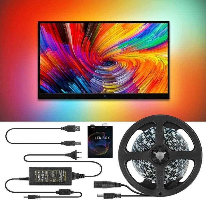 WS2812 5V شريط ليد مزود بيو إس بي ضوء RGB WS2812B SMD 5050 30/60LED/M 1M 2M 3M 4M 5M التلفزيون HDMI المحيطة LED الخلفية ل حاسوب شخصي مكتبي شاشة