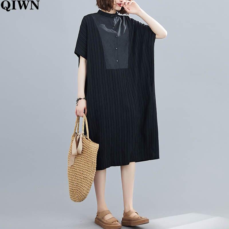 Vestido de talla grande 4XL 5XL 6XL para mujer 2020 novedad de verano vestido largo holgado informal negro a rayas con empalme Vestidos de verano Vintage
