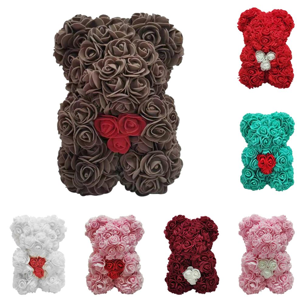 Regalo del Día de San Valentín corazón Rosa oso de peluche flor Artificial regalos del Día de San Valentín para la novia amante decoración de la boda