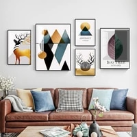 scandinavia golden elk wall canvas picture abstract geometry art painting poster aesthetic for living room home print wall decor