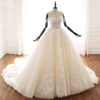 luxury wedding dresses spaghetti straps v neck lace applique embroidery charming gowns handmade beads vestido noiva court trai