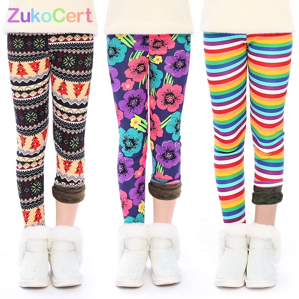 Zukocert novo inverno crianças calças outono inverno leggings do bebê colorido impressão flor borboleta amor meninas calças 3-12 anos