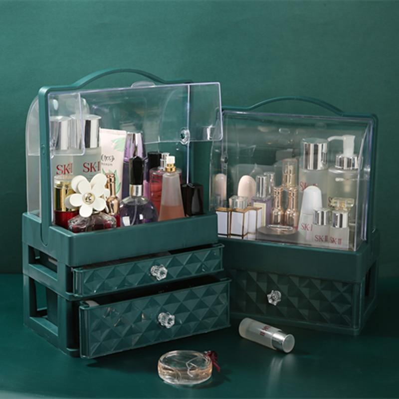 Makeup Organizer Box Portable Lipsticks Jewelry Acrylic Bathroom Case Capacity Cosmetic Drawer Almacenamiento Home BY50SN