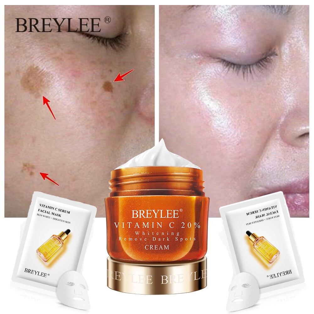 BREYLEE Vitamin C Face Cream Serum VC 20% Fade Freckles Remove Dark Spots Facial Creams Mask Whitening Moisturizing Day Cream