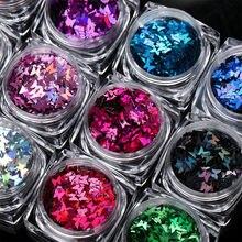 12 Kleuren 12 Dozen/Lot 3 Mm Glitter Vlinders Nail Art Glitter Vorm Spangle Pailletten Nagels Glitters Vlinder Nail sparkle, hjj