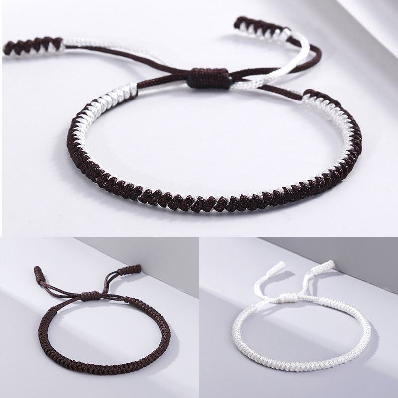 aliexpress.com - Charm Tibetan Buddhist Braided Bracelet Women Men Black Coffee White Thread Handmade Bracelets Adjustable Jewelry Friends Gift