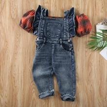 Children Set Newest Kids Baby Girl Balloon Sleeve Vest Tops Denim Suspender Pants Pocket Plaid Summer Short Sleeve Free Shipping