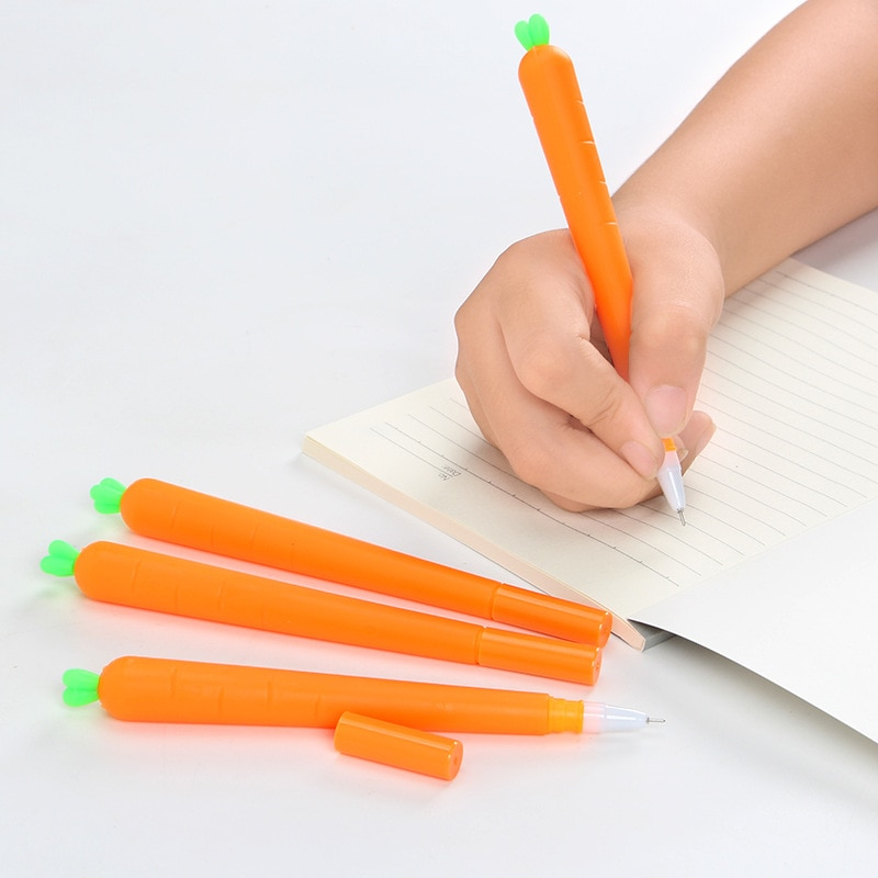 1 Uds. Kawaii gaucus zanahoria Gel pluma tinta azul y negra pluma de Gel para escuela Oficina suministro regalo papelería Papelaria Escolar